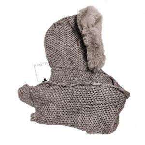 MaxMara Jajce Hooded Knit Scarf with Fox Fur Trim
